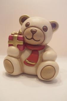 Teddybär champagner mit Päckchen, pink